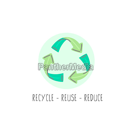 hand drawn recycle sign icon eco