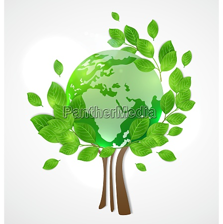 planet earth and green tree card