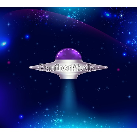 fantastic background with ufo flying in