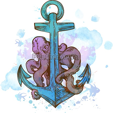 vintage hand drawn vector anchor and