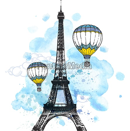 eiffel tower and air balloons on