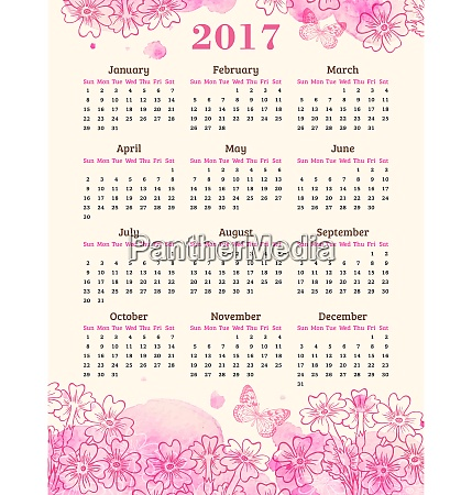 calendar for 2017 year abstract background