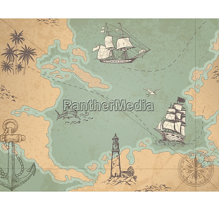 vintage vector marine map with sailing