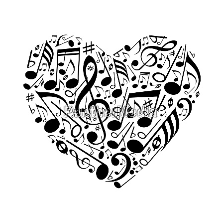 abstract heart of musical notes on