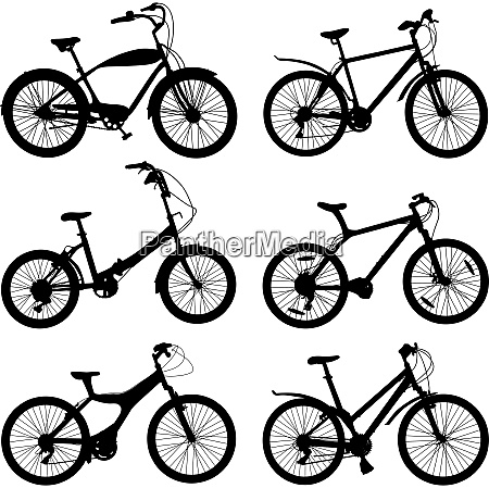 set of silhouettes of different bikes