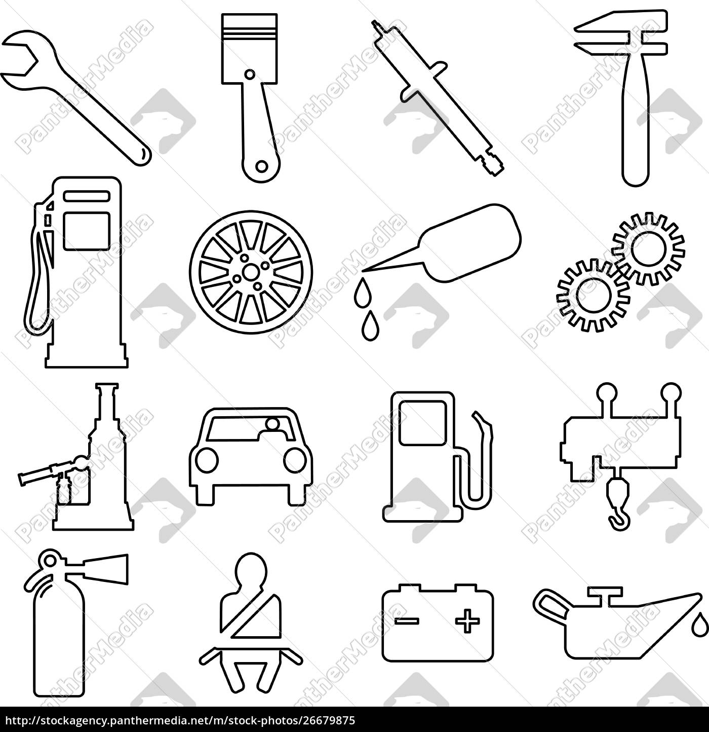 collection, flat, icons., car, symbols., vector - 26679875