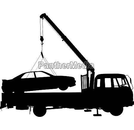 black silhouette car towing truck a