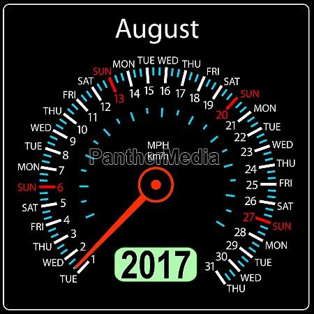 year 2017 calendar speedometer car in