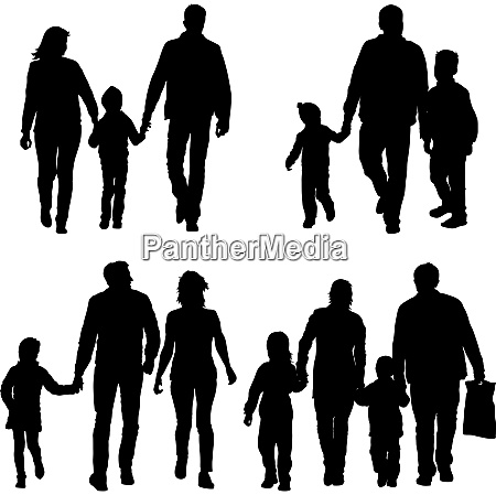 set, silhouette, of, happy, family, on - 26682956