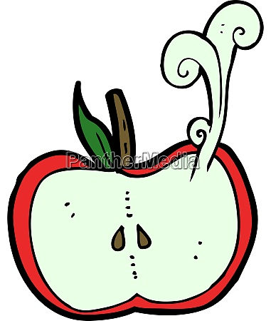 cartoon juicy apple half