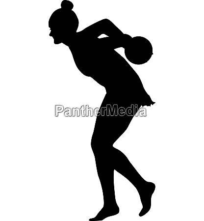 silhouette girl gymnast with the ball