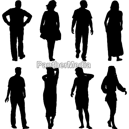 black silhouettes of beautiful man and