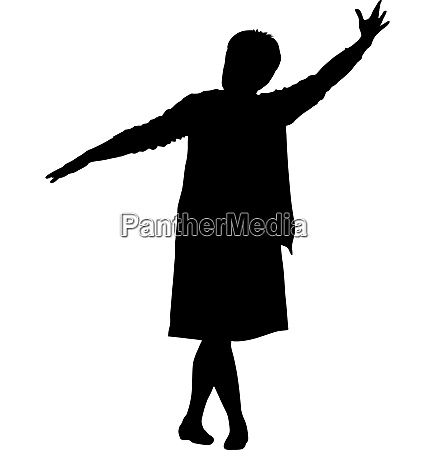 black silhouettes woman lifted his hand