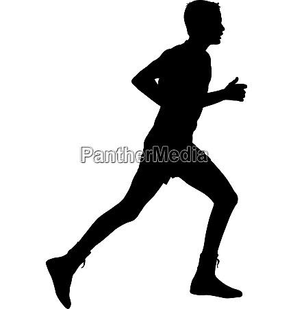 black silhouettes runners sprint men on