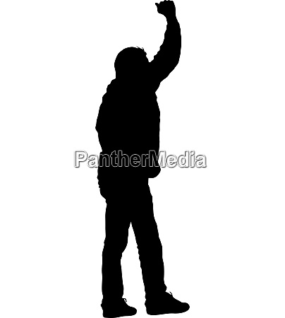 black silhouettes man lifted his hands