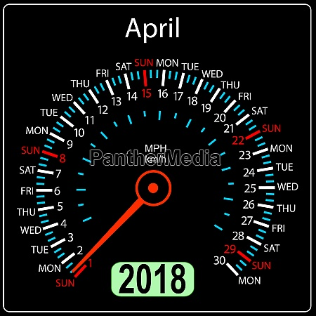 year 2018 calendar speedometer car in