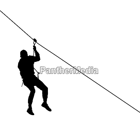 black silhouette extreme rope descent attraction