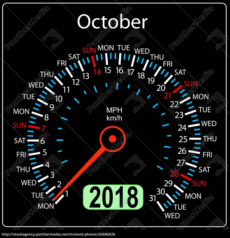 year, 2018, calendar, speedometer, car, in - 26686826
