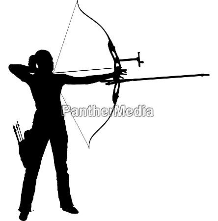 silhouette attractive female archer bending a