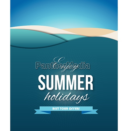 summer poster with sea waves sands