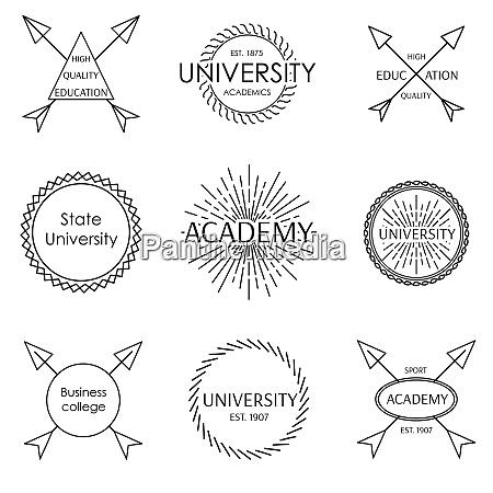set of university school academy outline