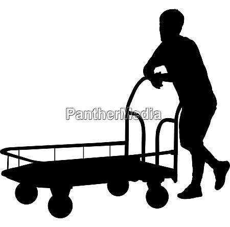 black silhouette hard worker pushing wheelbarrow
