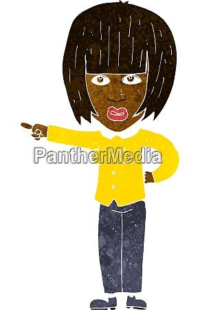 cartoon pointing annoyed woman