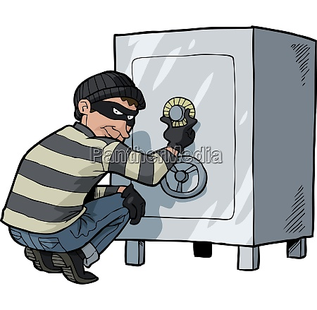 cartoon thief safecracker breaks into a