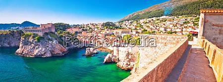 dubrovnik bay and historic walls panoramic