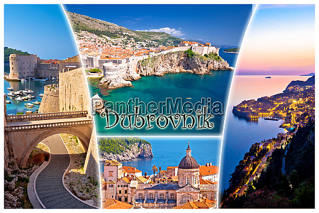 dubrovnik postcard collage with label famous