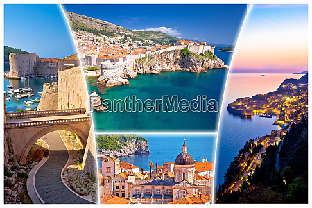 dubrovnik postcard collage famous tourist destination