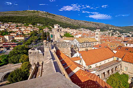 view from dubrovnik city walls on