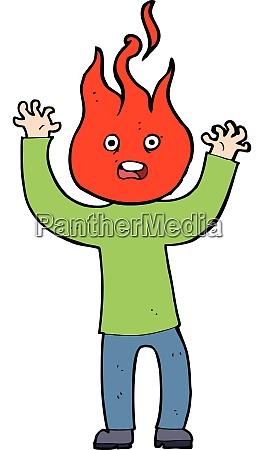 cartoon man with head on fire