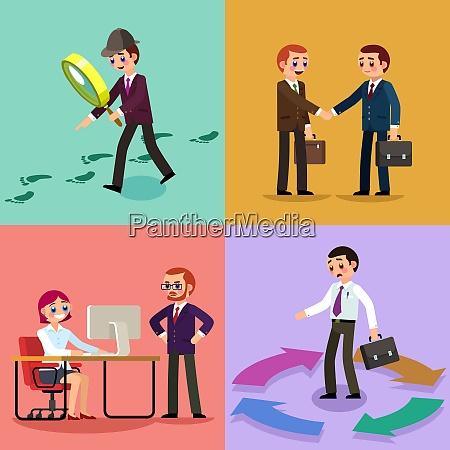 set of business illustration working men