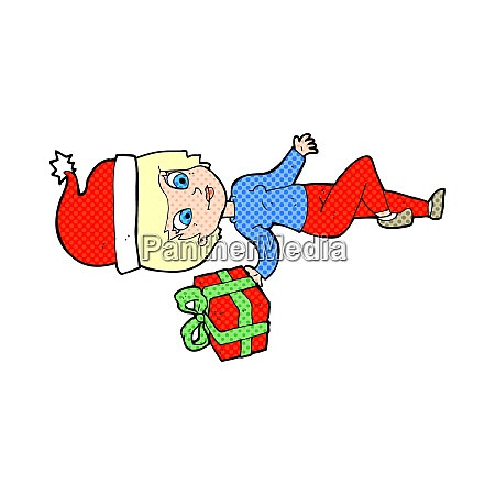 cartoon woman with christmas present
