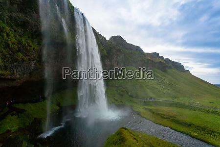 seljalandsfoss falls in summer season view