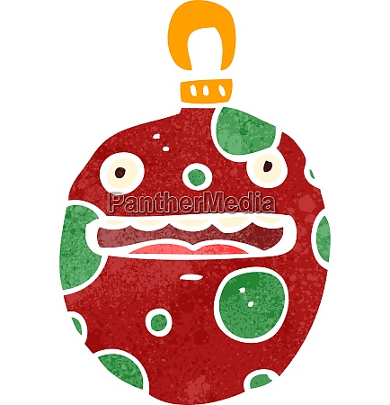 retro cartoon christmas bauble