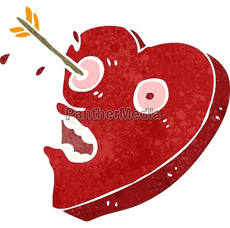 retro cartoon heart struck by arrow
