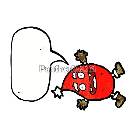 cartoon funny christmas creature with speech