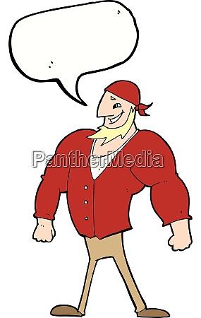 cartoon manly sailor man with speech