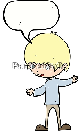 cartoon boy with outstretched arms with