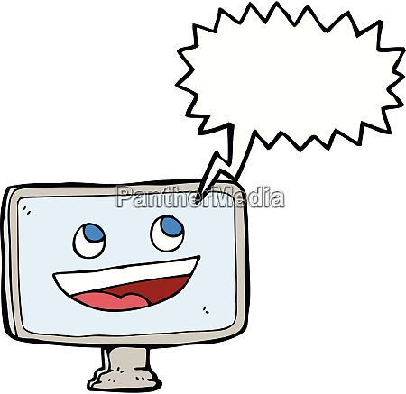 cartoon computer screen with speech bubble