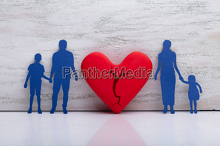 broken heart with separate family