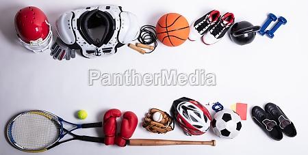 sport equipment on white background