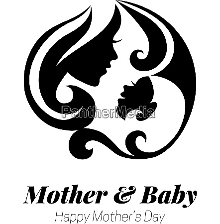 vector illustration of mother silhouette with