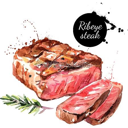 watercolor ribeye steak isolated food illustration
