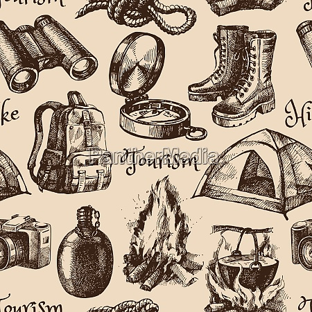 hike and camping tourism hand drawn