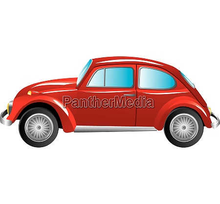 red retro car isolated on white