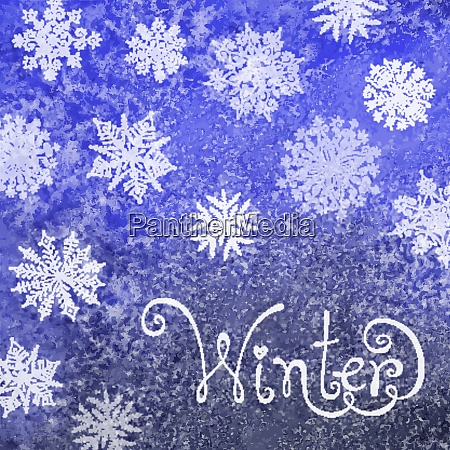 winter background with snowflakes painting watercolor