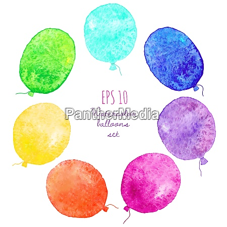 set of multicolored balloons painted in